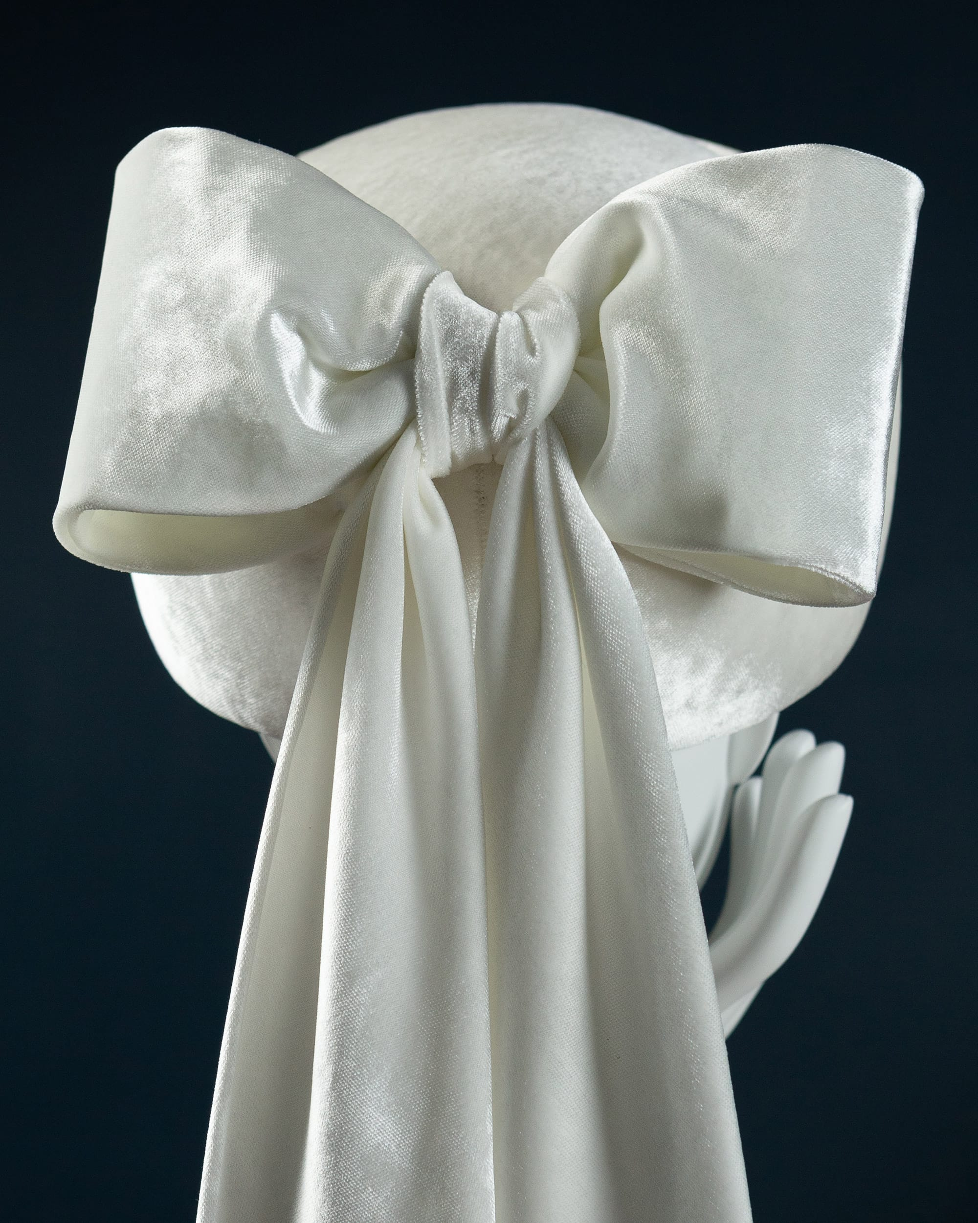 White silk velvet pillbox