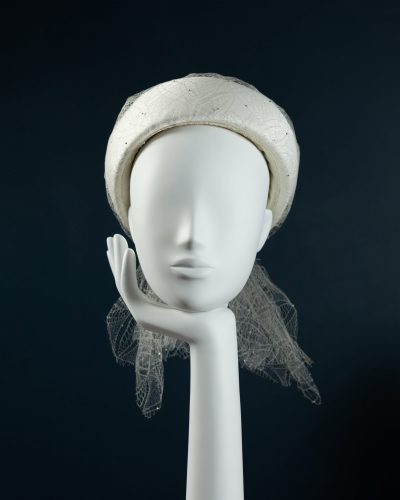 Silk Pillbox with Vintage Veiling