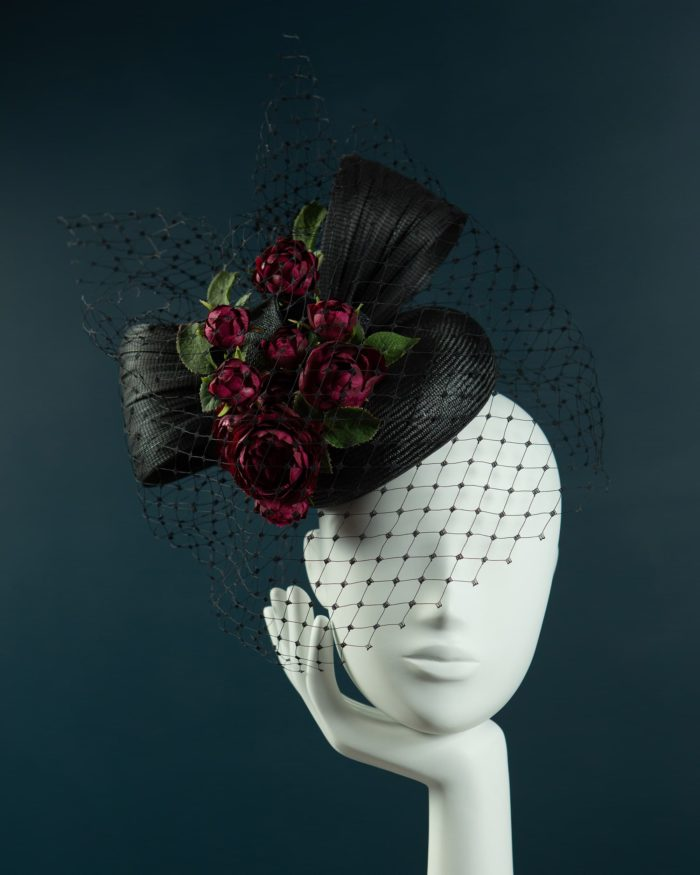 Black Straw Pillbox hat