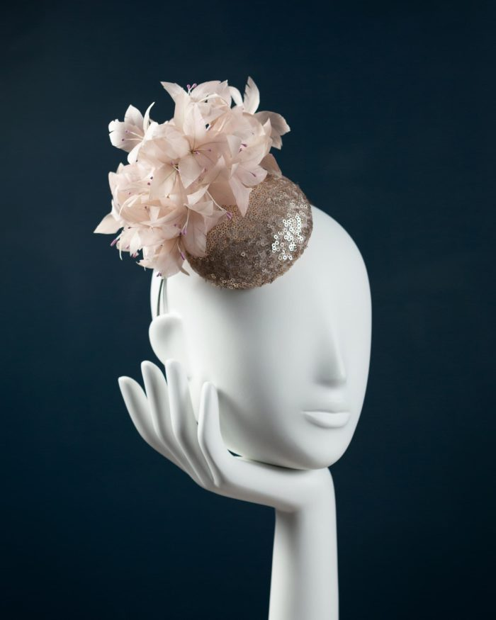 Blush Sequin Button Beano Hat