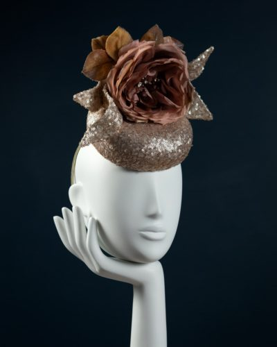 Blush Sequin Pillbox hat
