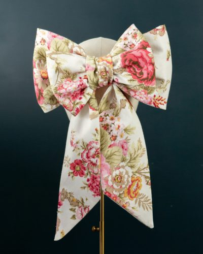 Cream Pink Chintz Bow hat