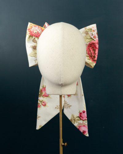 Cream Pink Chintz Bow hat