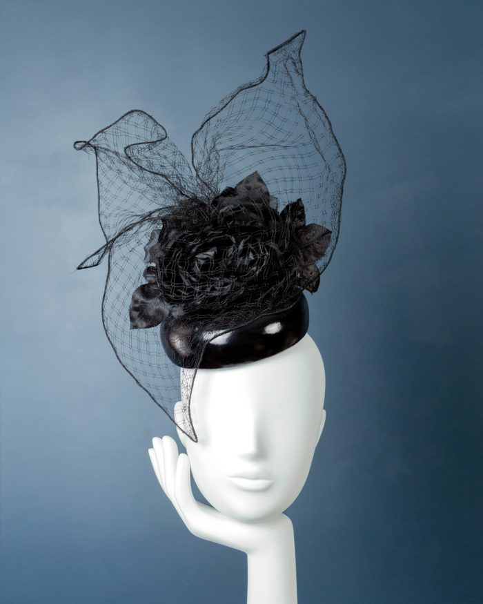 Latex Pillbox with Flower and Veil hat