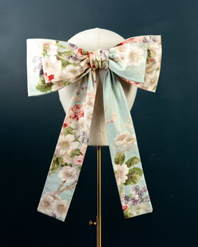 Mint Chintz Bow hat