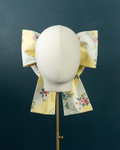 Yellow Stripe Chintz Bow hat